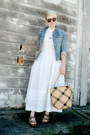 White-vintage-dress-blue-denim-gap-jacket-beige-vintage-straw-bag