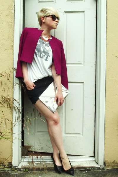 magenta wool vintage jacket - silver H&amp;M bag - black diy BDG shorts