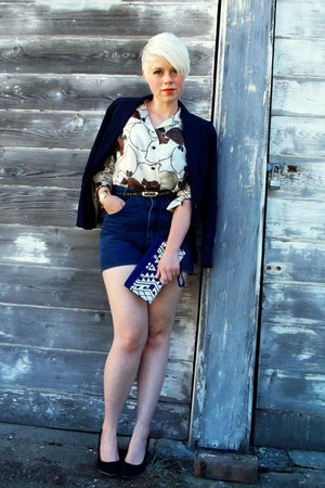 off white silk vintage blouse - navy H&amp;M blazer - blue clutch Target bag