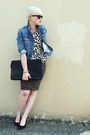 Blue-denim-gap-jacket-black-leopard-print-forever21-skirt