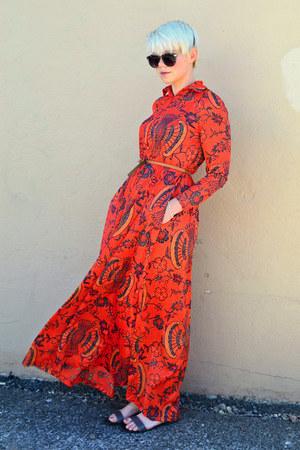 red vintage dress - black OASAP sunglasses - charcoal gray Forever21 sandals