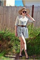ivory polka dot OASAP blouse - dark brown OASAP sunglasses