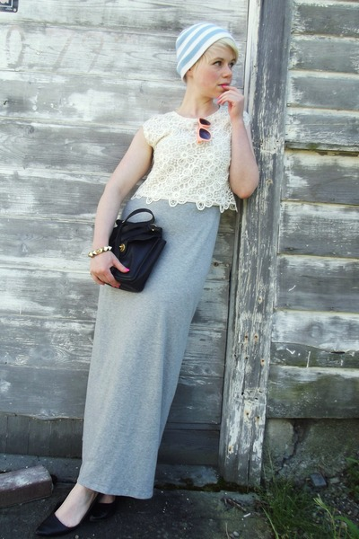 light pink lace H&amp;M top - heather gray maxi H&amp;M dress - black coach bag