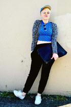 blue cropped Forever21 top - black coach bag - aquamarine Forever21 sunglasses