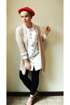red hat - white H&M blouse - pink Gap cardigan - gray Chloe shoes