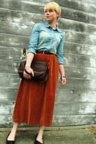 tawny vintage velvet skirt - sky blue JCrew shirt