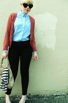 coral H&M cardigan - sky blue oxford shirt - beige Aldo bag - black BDG pants