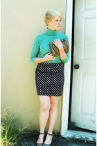 black Forever21 skirt - aquamarine thrifted united colors of benetton sweater