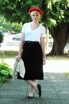black velvet midi skirt - red hat - cream Gap sweater - white Gap t-shirt