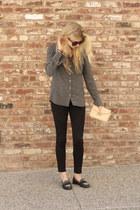 black denim J Brand pants - charcoal gray silk Aritzia shirt