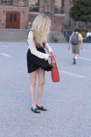 Nasty Gal dress - kate spade bag - silk Bebe blouse - studded Zara loafers