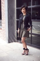 black waxed Zara jacket - olive green Topshop dress