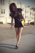 yellow leather clutch Zara purse - navy asos shorts - black platform Jessica Sim