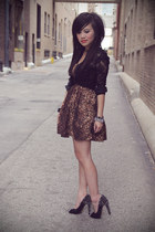 brown leopard print romwe dress - silver spiked Forever 21 bracelet - black lace