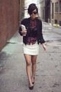Black-cropped-waxed-zara-jacket-brick-red-checkered-zara-shirt