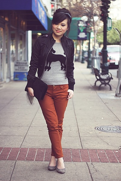burnt orange cigarette Topshop pants - black satin cropped Zara jacket