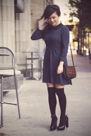navy asos dress - tawny leopard print Zara purse
