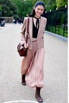 light pink dress - dark brown boots - light pink blazer - maroon bag