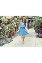 blue 168 dress - heather gray CLN wedges - Forever 21 accessories