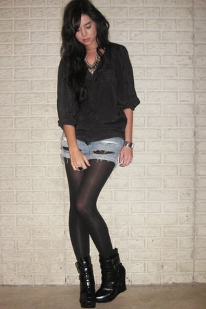 H&M Trend blouse - DIY shorts - Target tights - alice  olivia for Payless boots
