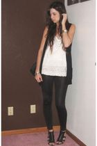 forever 21 top - forever 21 vest - forever 21 leggings - Nine West shoes - forev