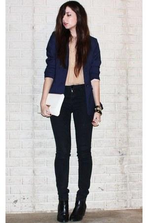 silver cross la dama ring - black H&M boots - black BDG jeans - navy H&M blazer
