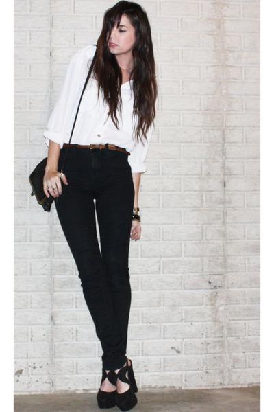 H&M blouse - BDG jeans - Forever 21 purse - leopard print Nasty Gal belt