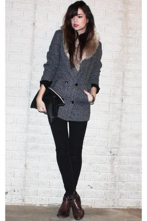 faux fur H&M scarf - ankle asos boots - Cheap Monday coat - H&M jeans