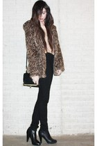 ankle Steve Madden boots - asos coat - high rise BDG jeans - Forever 21 bag - Th