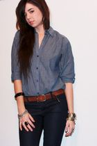 blue chambray H&M shirt - blue skinny Forever 21 jeans