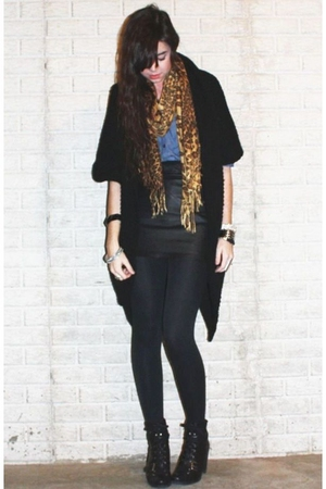 black Forever 21 cardigan - blue H&M divided black shirt - brown from Ebay scarf