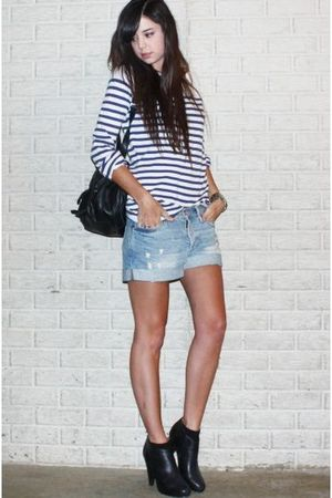 white H&M sweater - blue H&M shorts - black asos bag - black Steve Madden boots