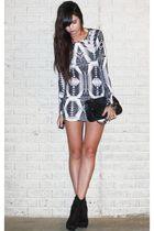 blue denim Forever 21 jacket - black Forever 21 boots - white printed H&M dress