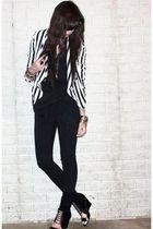 white stripe H&M divided black jacket - black wedge Aldo shoes