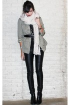 green H&M jacket - black urban1972com top - black asos belt - beige H&M scarf -