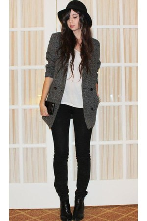 heather gray Cheap Monday coat - white H&M t-shirt - black H&M hat - black BDG j