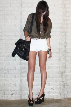 white vintage levi shorts - black platform wedge Jeffrey Campbell shoes
