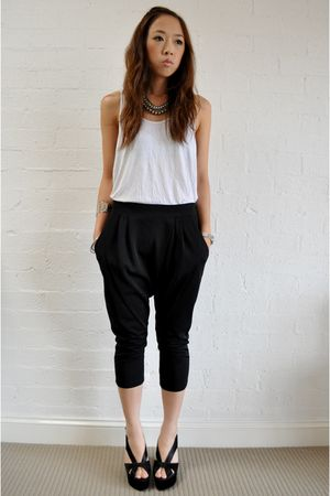 white American Apparel top - black kimnmis pants - black Jeffrey Campbell shoes