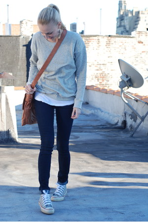 tawny bag - gray shoes - heather gray sweater - white t-shirt - silver accessori