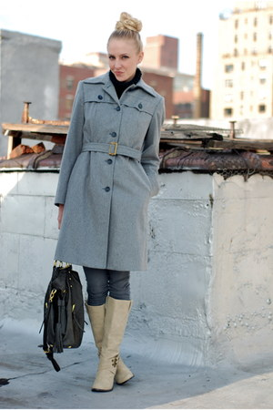 heather gray coat - charcoal gray jeans - neutral boots - dark gray bag - black