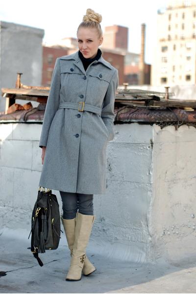heather gray coat - charcoal gray jeans - neutral boots - dark gray bag - black