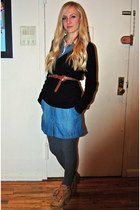 blue dress - charcoal gray stockings - black sweater - tawny boots - off white s