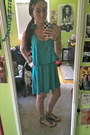 Teal-marshalls-dress-dsw-sandals-feather-claires-earrings