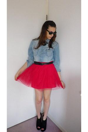 H&M shirt - Naf Naf skirt - new look wedges