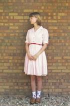 light pink vintage dress - bronze Blake Scott flats