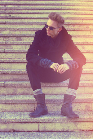 gray Bershka boots - black H&amp;M coat - black H&amp;M jeans - dark gray Bershka scarf