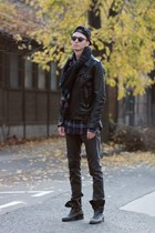 black leather jacket H&M jacket - navy vintage checked vintage shirt