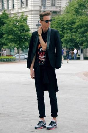 black leather details H&M Trend blazer