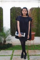black cottonink dress - black ciciero purse - black MNG pumps