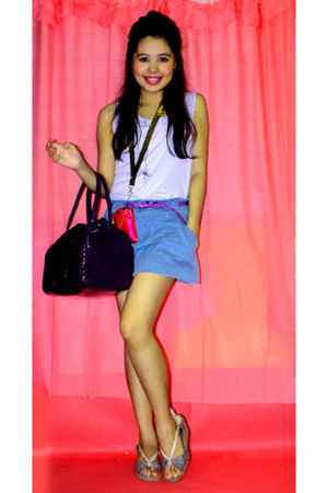 blue thrifted top - blue iLx skirt - beige artwork shoes - purple Penshoppe bag 